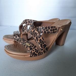 "Crocs Leopard Print Strappy 4"" Heels size 9"